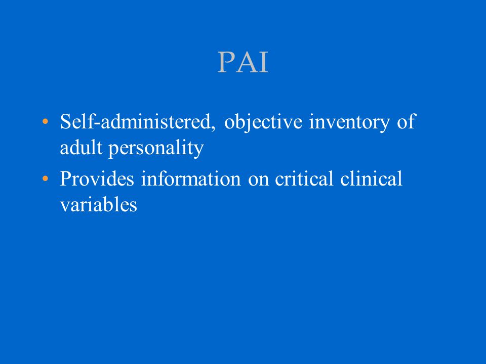 PAI Clinical Report Subscale Profile Includes nine Clinical scales and one Treatment Consideration scale with their respective subscales Somatic Complaints: SOM-C, SOM-S, and SOM-H Anxiety: ANX-C, ANX-A, and ANX-P Anxiety-Related Disorders: ARD-O, ARD-P, and ARD-T