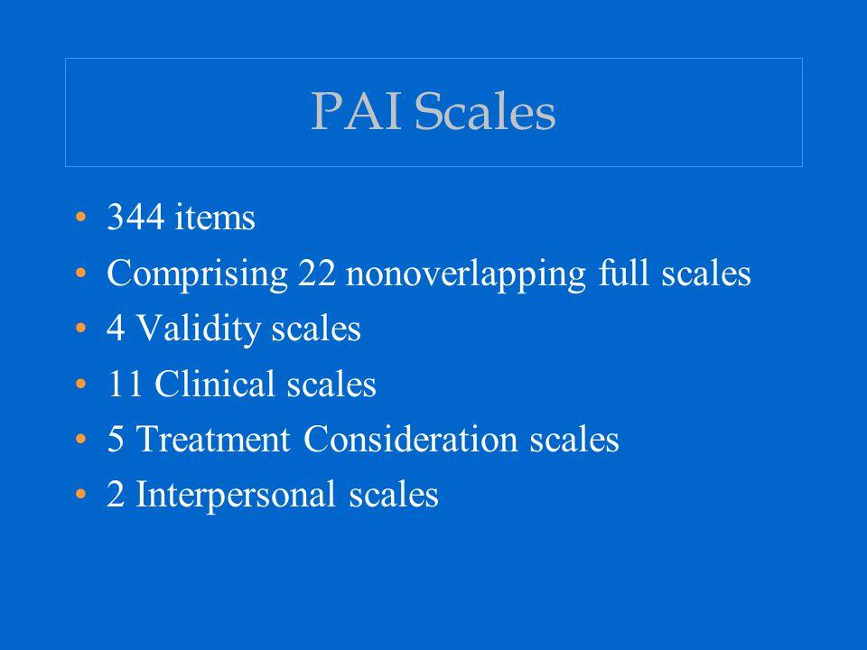 PAI Clinical Report Subscale Profile (cont'd) Depression: DEP-C, DEP-A, and DEP-P Mania: MAN-A, MAN-G, and MAN-I Paranoia: PAR-H, PAR-P, and PAR-R Schizophrenia: SCZ-P, SCZ-S, and SCZ-T Borderline Features: BOR-A, BOR-I, BOR-N, and BOR-S