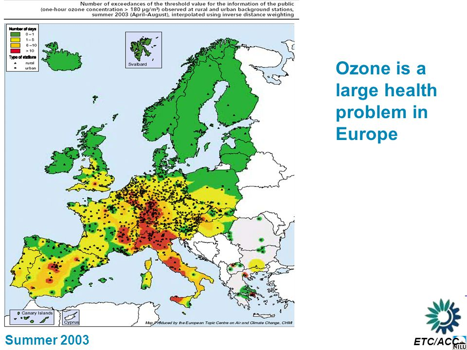 Ozone is a large health problem in Europe Summer 2003 ETC/ACC