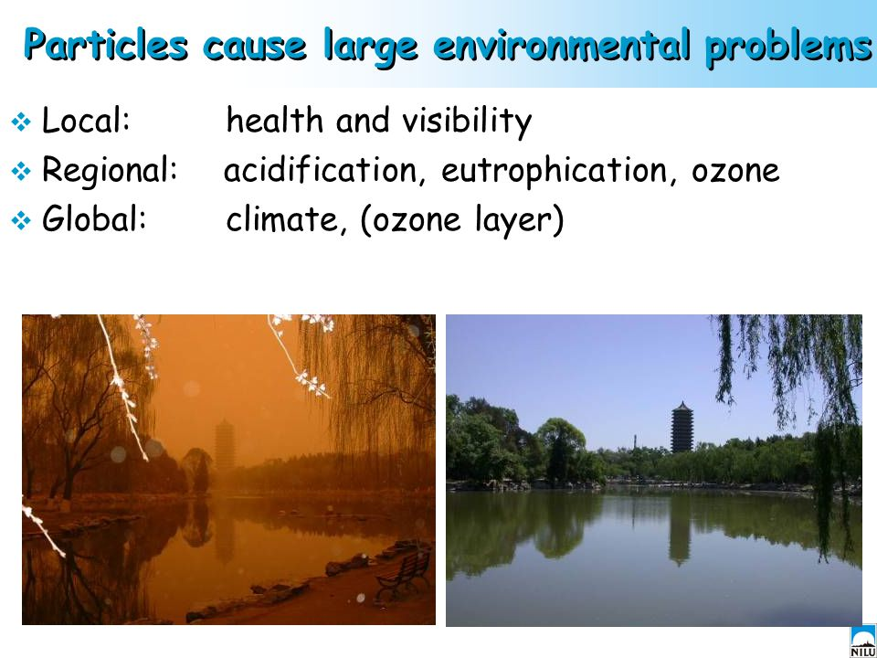 Particles cause large environmental problems  Local: health and visibility  Regional: acidification, eutrophication, ozone  Global: climate, (ozone layer)