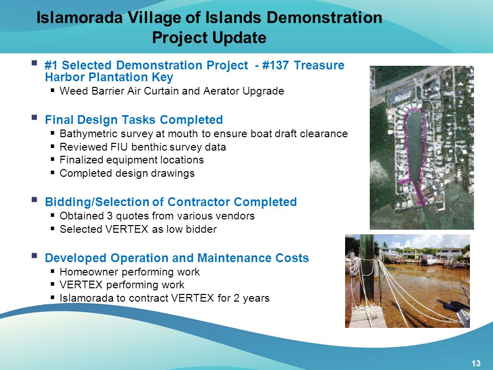 13 Islamorada Village of Islands Demonstration Project Update  #1 Selected Demonstration Project - #137 Treasure Harbor Plantation Key  Weed Barrier