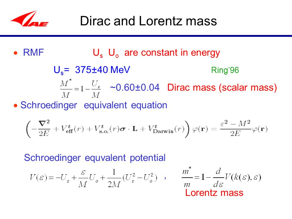 Dirac and Lorentz mass  RMF U s U o are constant in energy U s = 375±40 MeV Ring'96 ~0.60±0.04 Dirac mass (scalar mass)  Schroedinger equivalent equ