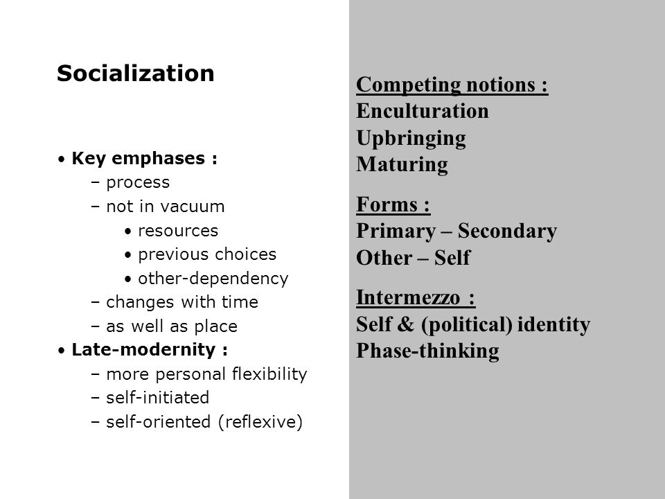 Socialization Key emphases : – process – not in vacuum resources previous choices other-dependency – changes with time – as well as place Late-modernity : – more personal flexibility – self-initiated – self-oriented (reflexive) Competing notions : Enculturation Upbringing Maturing Forms : Primary – Secondary Other – Self Intermezzo : Self & (political) identity Phase-thinking