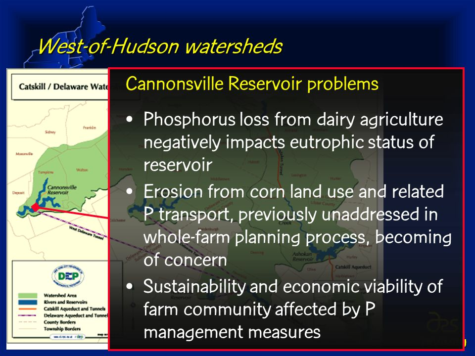 PSWMRU West-of-Hudson watersheds Cannonsville Reservoir problems Phosphorus loss from dairy agriculture negatively impacts eutrophic status of reservoir Erosion from corn land use and related P transport, previously unaddressed in whole-farm planning process, becoming of concern Sustainability and economic viability of farm community affected by P management measures