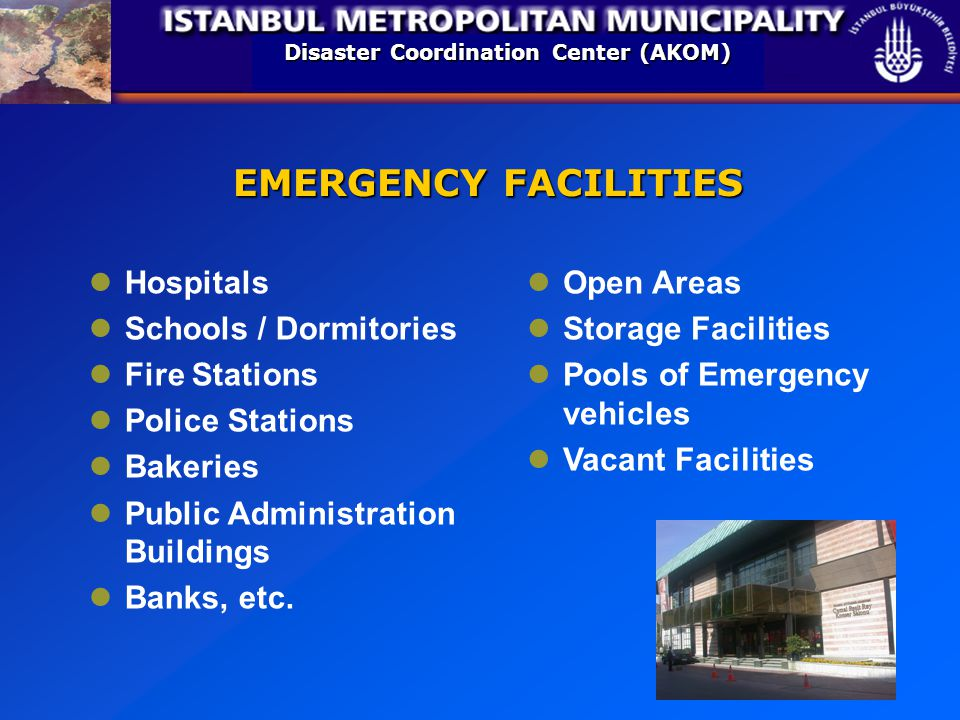 Disaster Coordination Center (AKOM) EMERGENCY FACILITIES Hospitals Schools / Dormitories Fire Stations Police Stations Bakeries Public Administration Buildings Banks, etc.