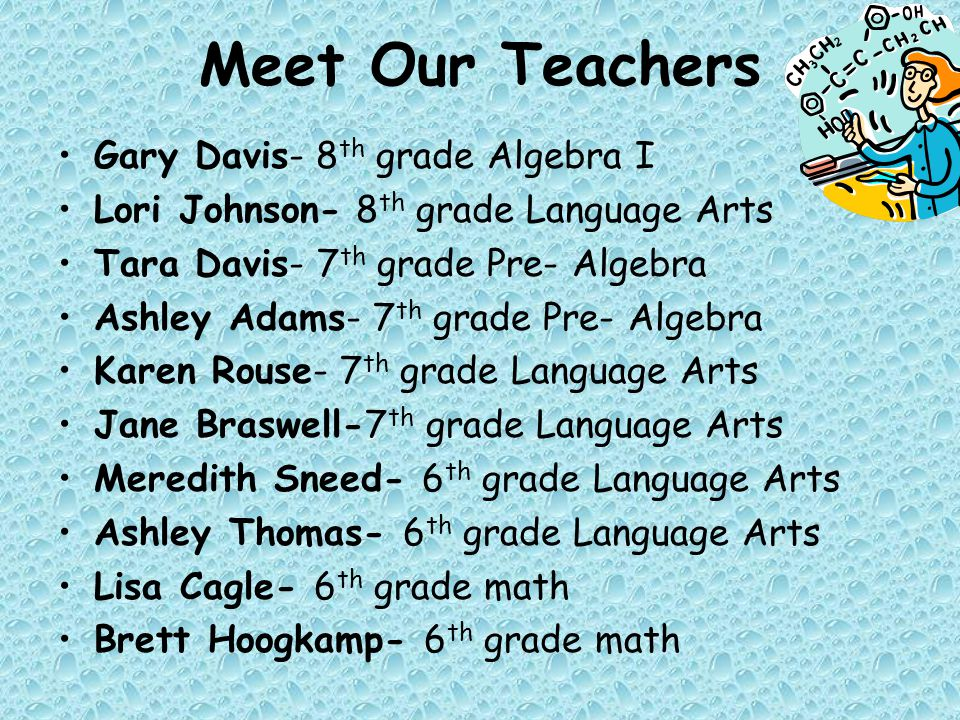 Gary Davis- 8 th grade Algebra I Lori Johnson- 8 th grade Language Arts Tara Davis- 7 th grade Pre- Algebra Ashley Adams- 7 th grade Pre- Algebra Karen Rouse- 7 th grade Language Arts Jane Braswell-7 th grade Language Arts Meredith Sneed- 6 th grade Language Arts Ashley Thomas- 6 th grade Language Arts Lisa Cagle- 6 th grade math Brett Hoogkamp- 6 th grade math Meet Our Teachers