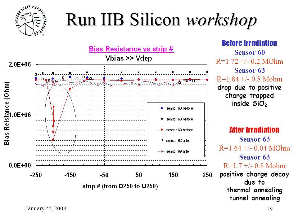 January 22, 200319 Run IIB Siliconworkshop Run IIB Silicon workshop Before Irradiation Sensor 60 R=1.72 +/- 0.2 MOhm Sensor 63 R=1.84 +/- 0.8 Mohm dro