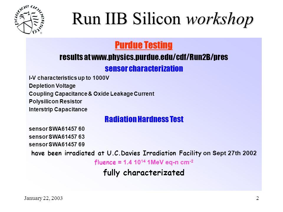 January 22, 20032 Run IIB Silicon workshop Purdue Testing results at www.physics.purdue.edu/cdf/Run2B/pres sensor characterization I-V characteristics