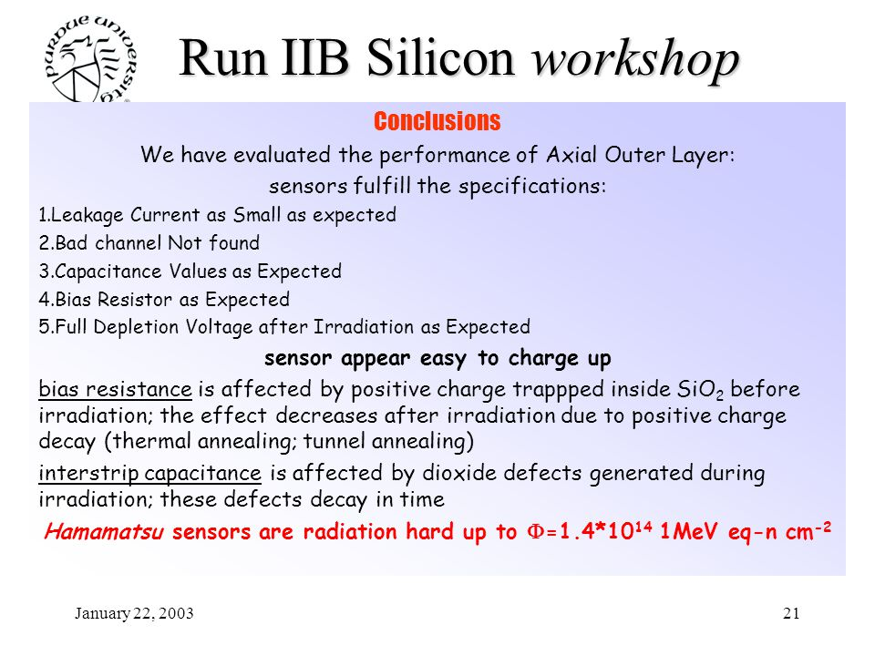 January 22, 200321 Run IIB Siliconworkshop Run IIB Silicon workshop Conclusions We have evaluated the performance of Axial Outer Layer: sensors fulfil