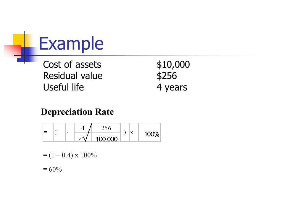 Example Depreciation Rate = (1 – 0.4) x 100% = 60% Cost of assets$10,000 Residual value$256 Useful life4 years