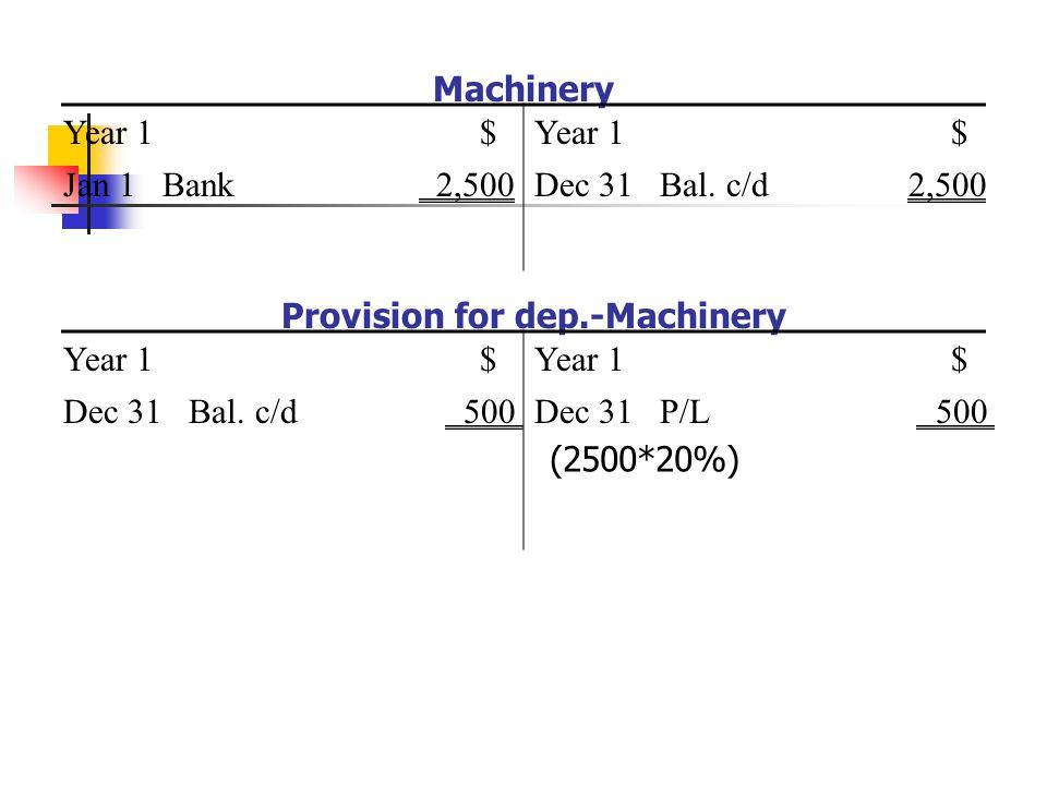 Machinery Year 1 Jan 1 Bank 2,500 $Year 1$ Dec 31 Bal.