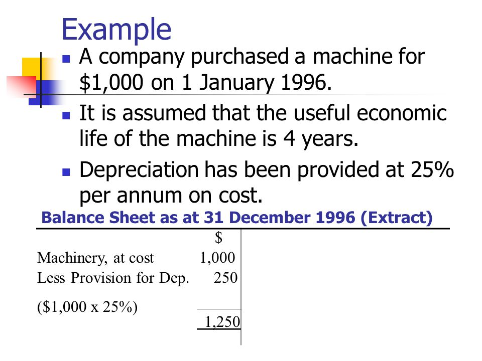 Example A company purchased a machine for $1,000 on 1 January 1996.