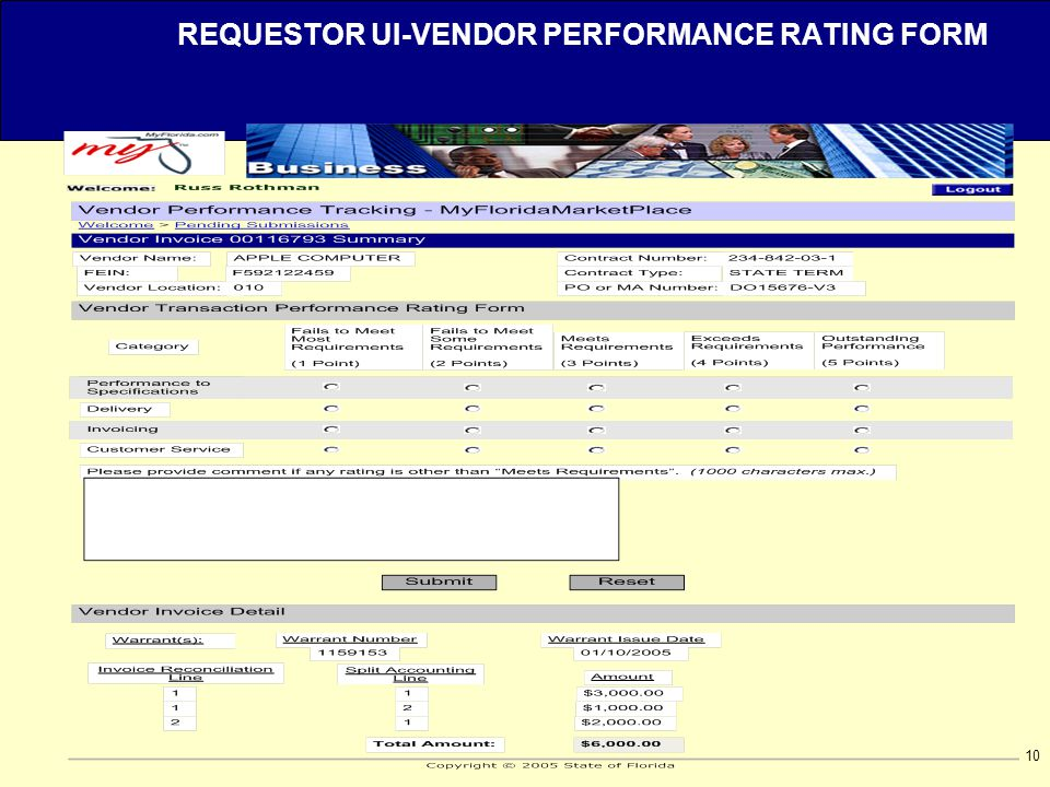 10 REQUESTOR UI-VENDOR PERFORMANCE RATING FORM