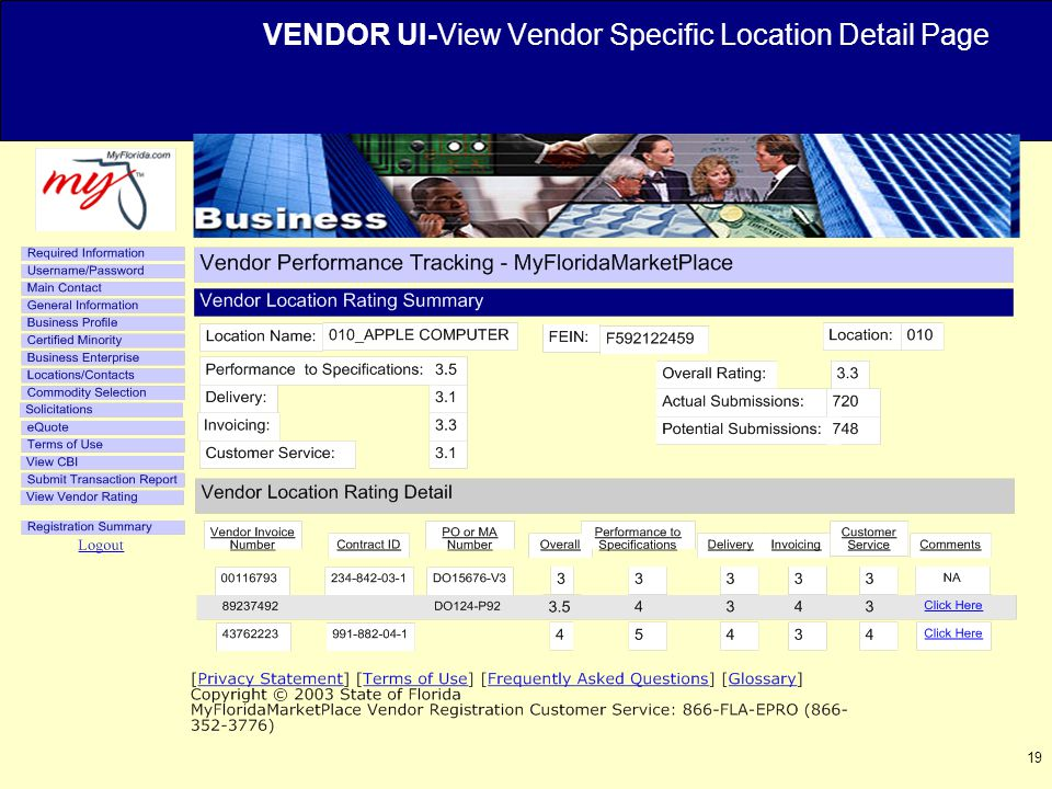 19 VENDOR UI-View Vendor Specific Location Detail Page