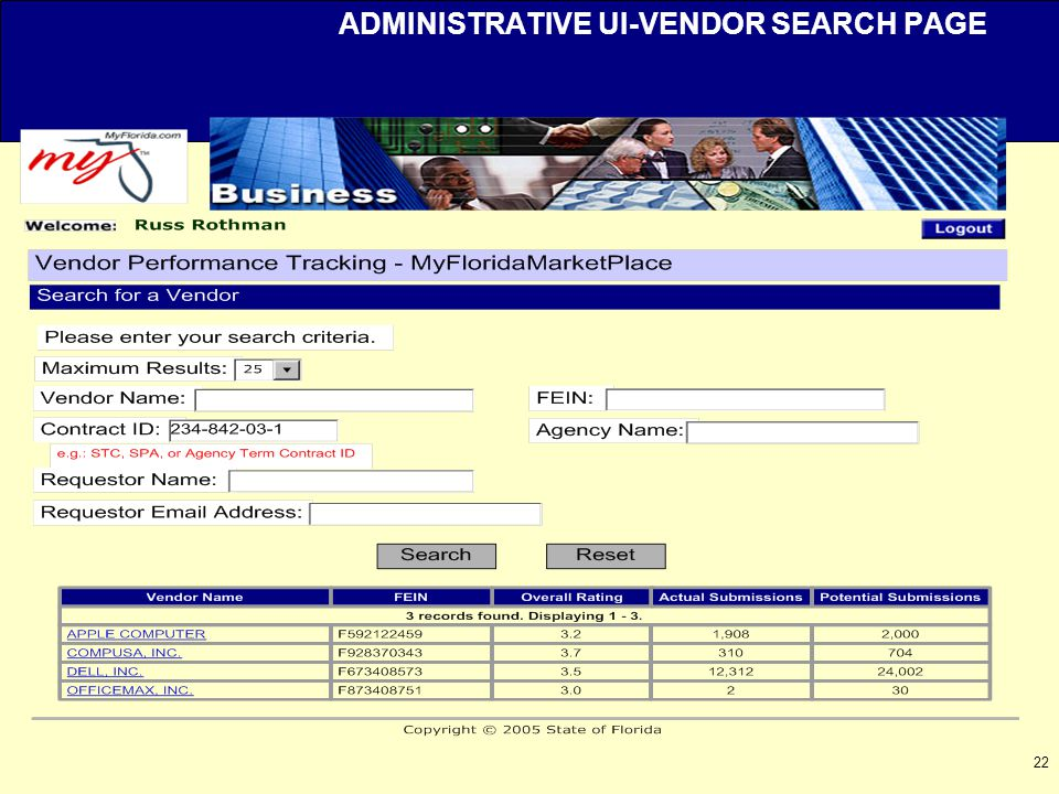 22 ADMINISTRATIVE UI-VENDOR SEARCH PAGE