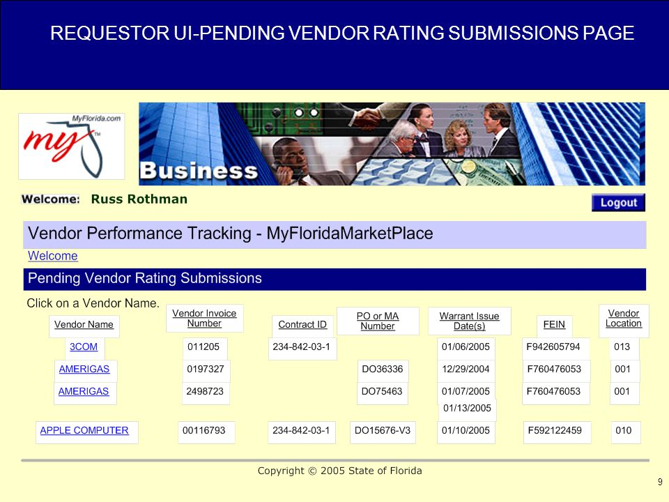 9 REQUESTOR UI-PENDING VENDOR RATING SUBMISSIONS PAGE
