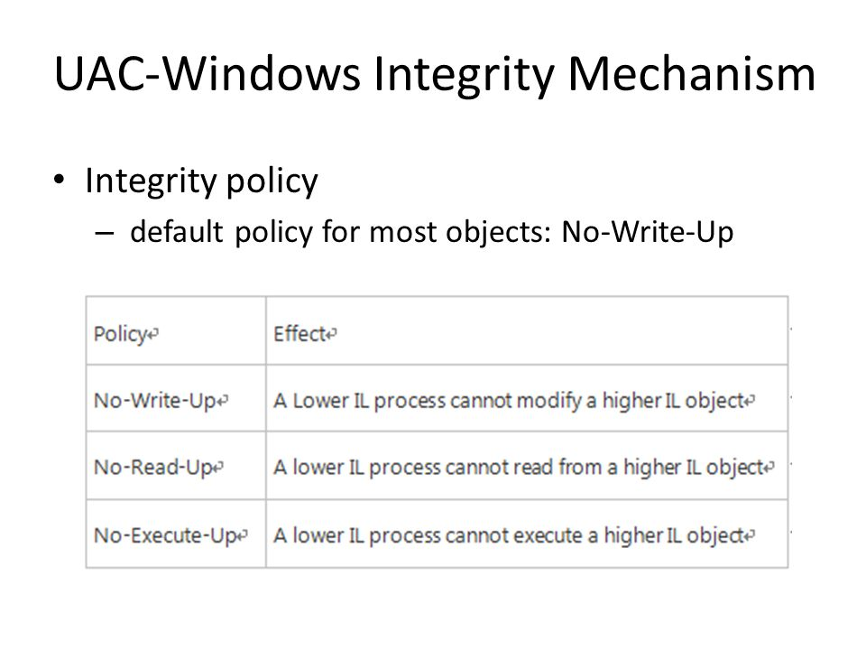 Integrity policy – default policy for most objects: No-Write-Up