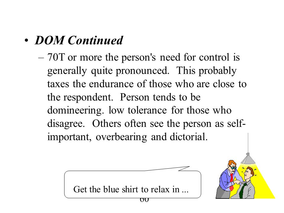 60 DOM Continued –70T or more the person's need for control is generally quite pronounced. This probably taxes the endurance of those who are close to