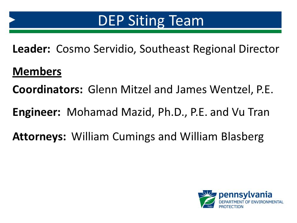 Leader: Cosmo Servidio, Southeast Regional Director Members Coordinators: Glenn Mitzel and James Wentzel, P.E.