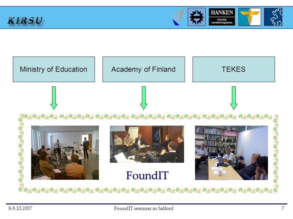 8-9.10.2007FoundIT seminar in Salford7 FoundIT Ministry of EducationAcademy of FinlandTEKES