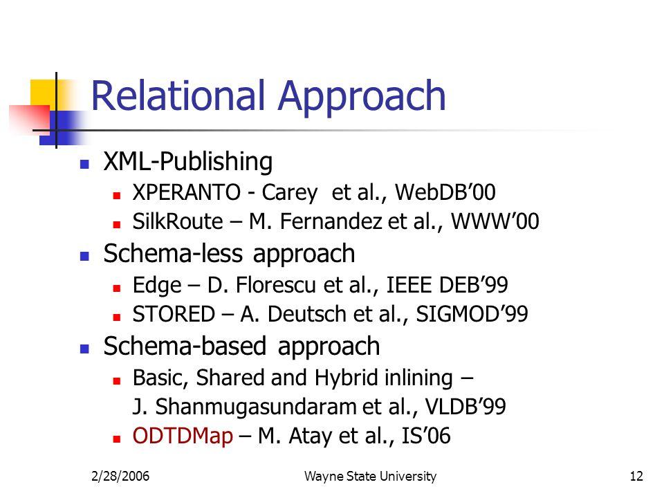 2/28/2006Wayne State University12 Relational Approach XML-Publishing XPERANTO - Carey et al., WebDB'00 SilkRoute – M.