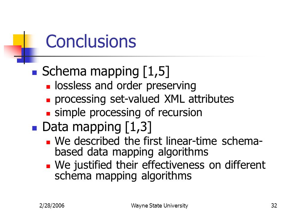 2/28/2006Wayne State University32 Conclusions Schema mapping [1,5] lossless and order preserving processing set-valued XML attributes simple processin