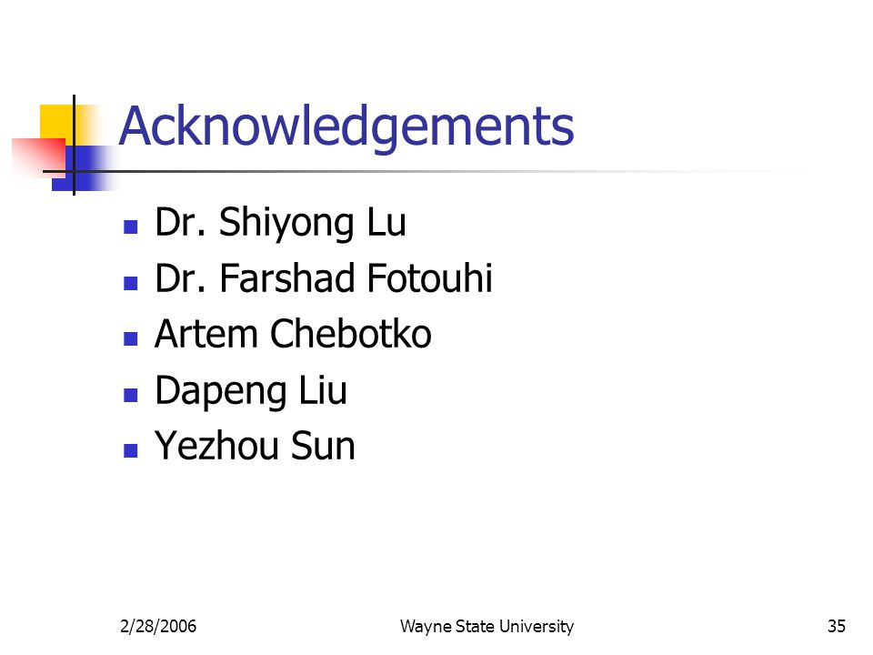 2/28/2006Wayne State University35 Acknowledgements Dr.