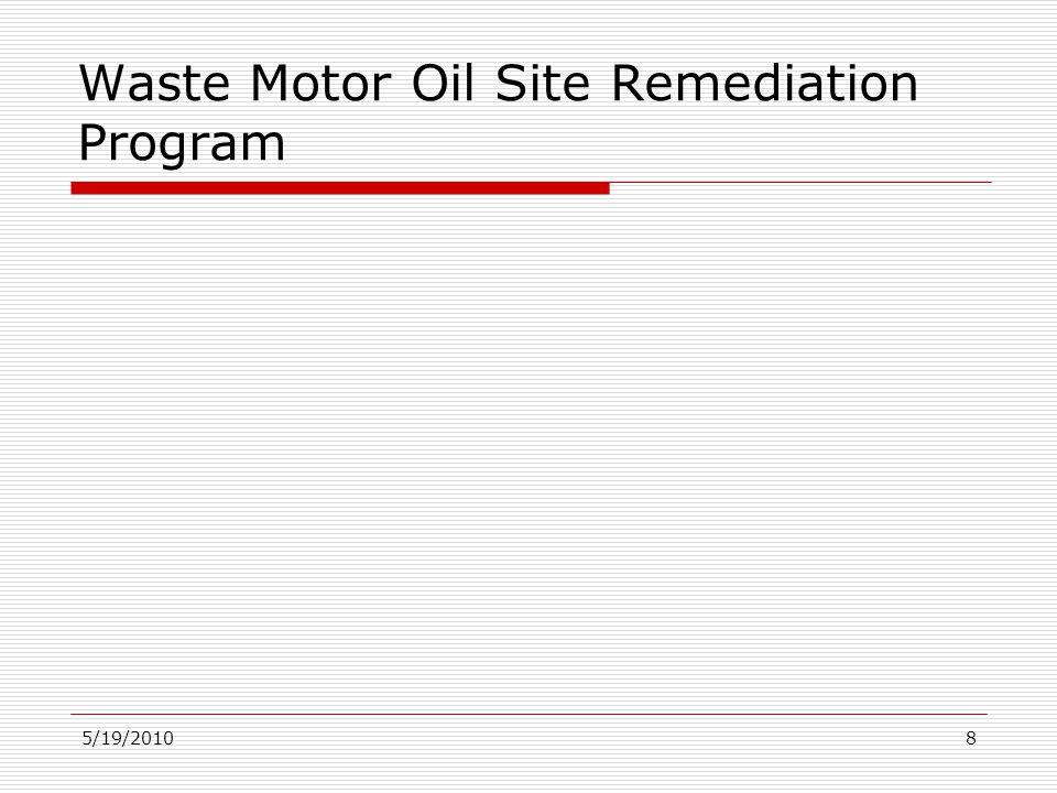 5/19/20108 Waste Motor Oil Site Remediation Program