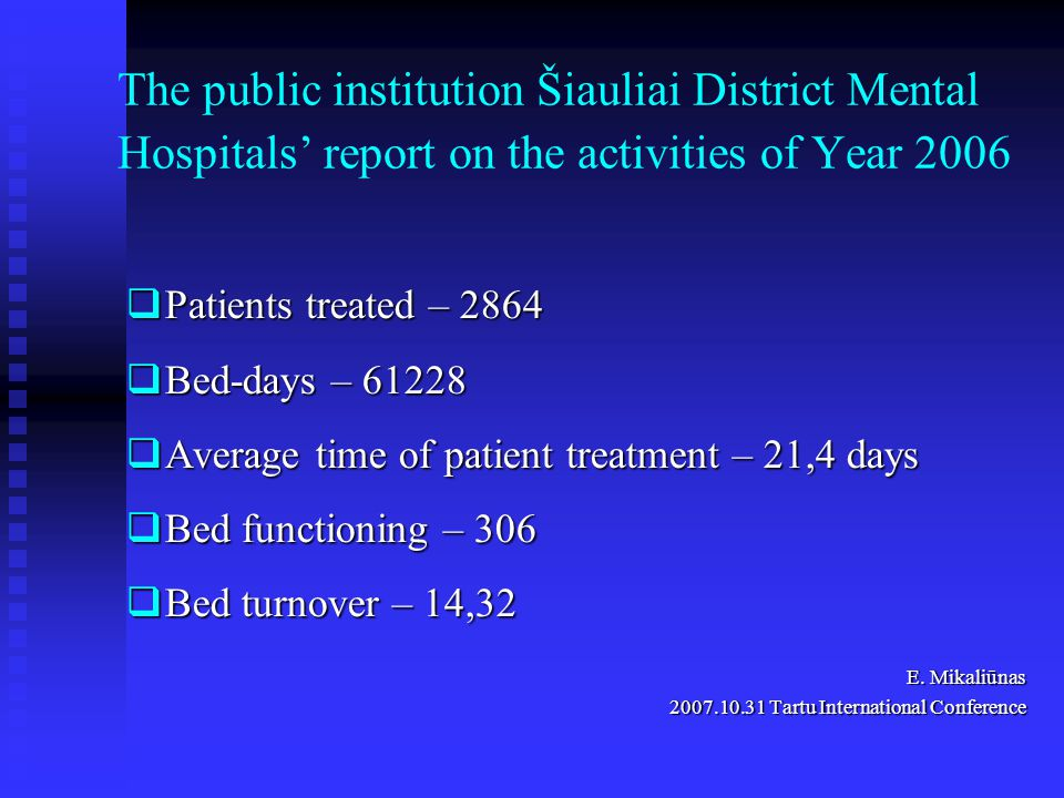 The public institution Šiauliai District Mental Hospitals' report on the activities of Year 2006  Patients treated – 2864  Bed-days – 61228  Average time of patient treatment – 21,4 days  Bed functioning – 306  Bed turnover – 14,32 E.