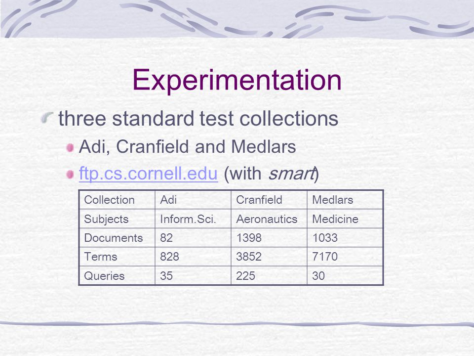 Experimentation three standard test collections Adi, Cranfield and Medlars ftp.cs.cornell.eduftp.cs.cornell.edu (with smart) CollectionAdiCranfieldMed