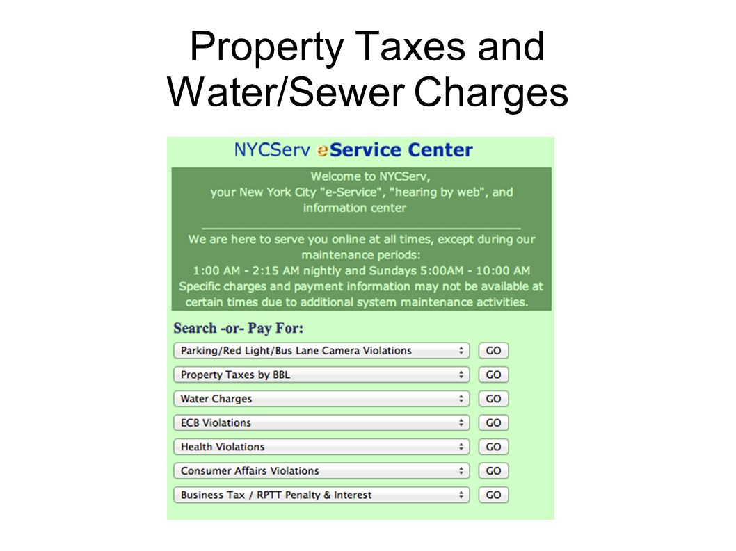 Property Taxes and Water/Sewer Charges