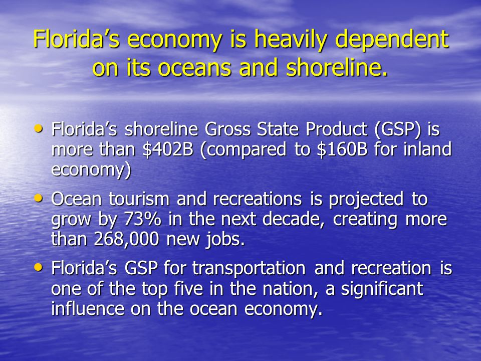 The Council's Vision & Goals: Promote innovative research and the use of scientific results to guide management and stewardship of Florida's ocean and coastal resources for future generations.