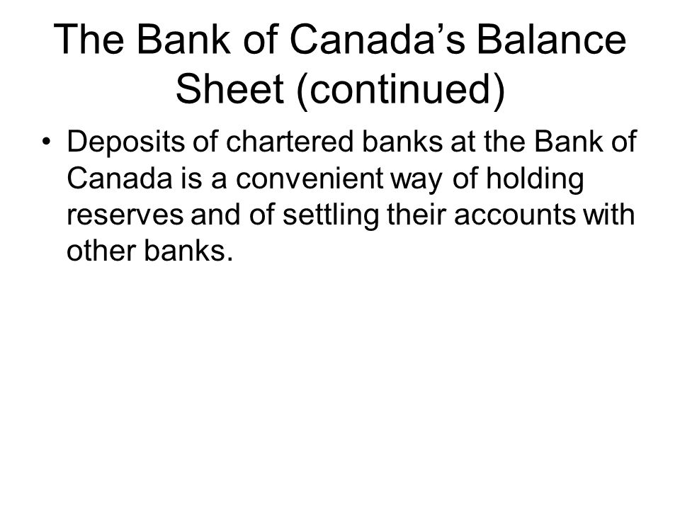 The Bank of Canada's Balance Sheet (continued) Deposits of chartered banks at the Bank of Canada is a convenient way of holding reserves and of settling their accounts with other banks.