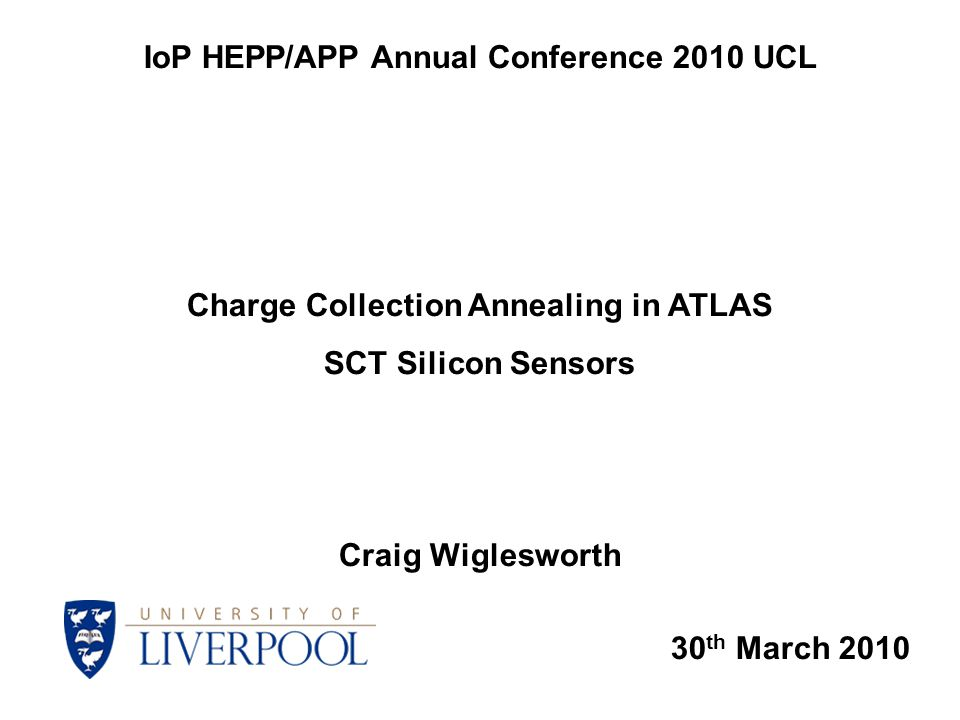 Results of Charge Collection Measurements Craig Wiglesworth IoP HEPP/APP Annual Conference UCL March 2010 11 Above ~ 500 V collected charge remains almost constant in time Largest increase in charge collection ratio @ 300 V