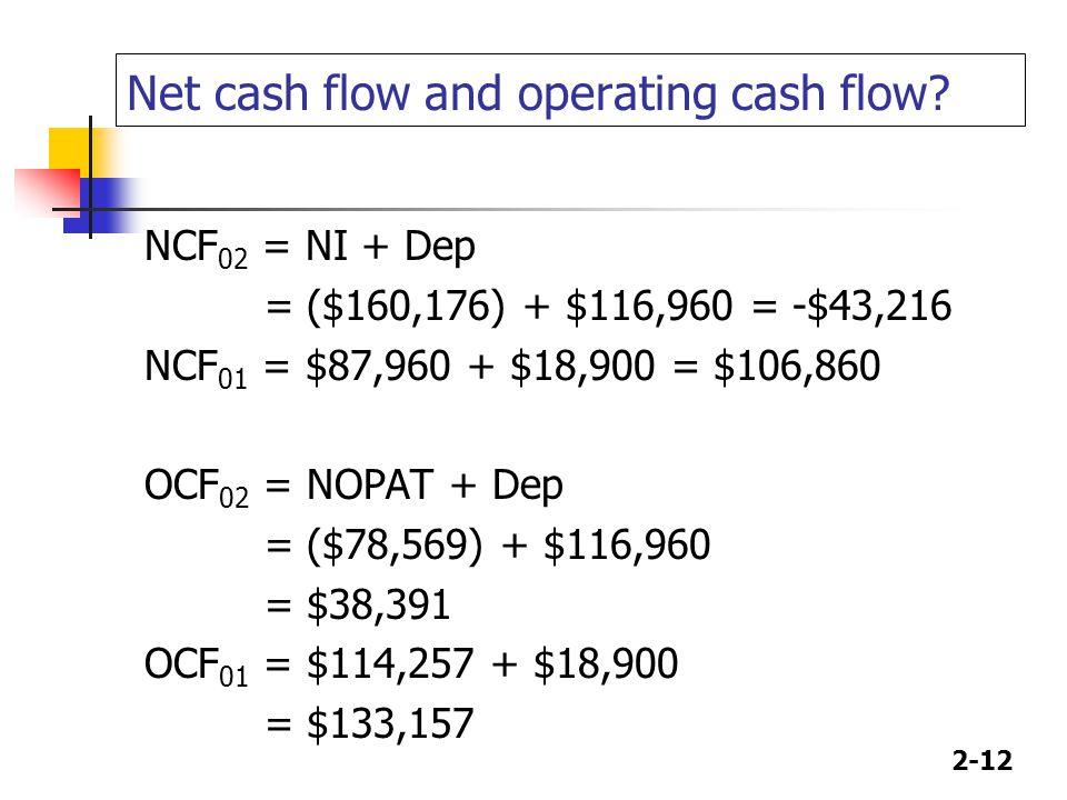 2-12 Net cash flow and operating cash flow.