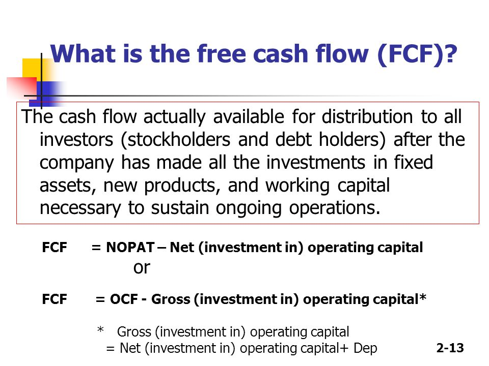 2-13 What is the free cash flow (FCF).