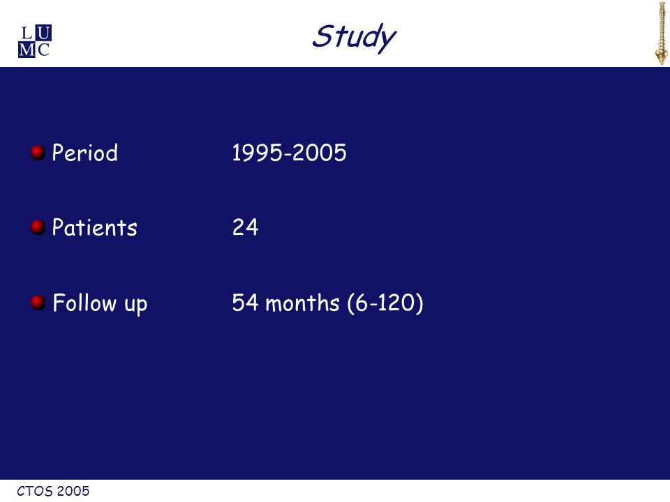 CTOS 2005 Study Period1995-2005 Patients24 Follow up54 months (6-120)