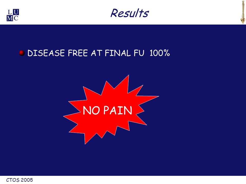 CTOS 2005 Results DISEASE FREE AT FINAL FU 100% NO PAIN