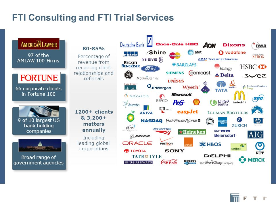 3 FTI Consulting and FTI Trial Services 97 of the AMLAW 100 Firms 66 corporate clients in Fortune 100 9 of 10 largest US bank holding companies Broad range of government agencies 80-85% Percentage of revenue from recurring client relationships and referrals 1200+ clients & 3,200+ matters annually Including leading global corporations