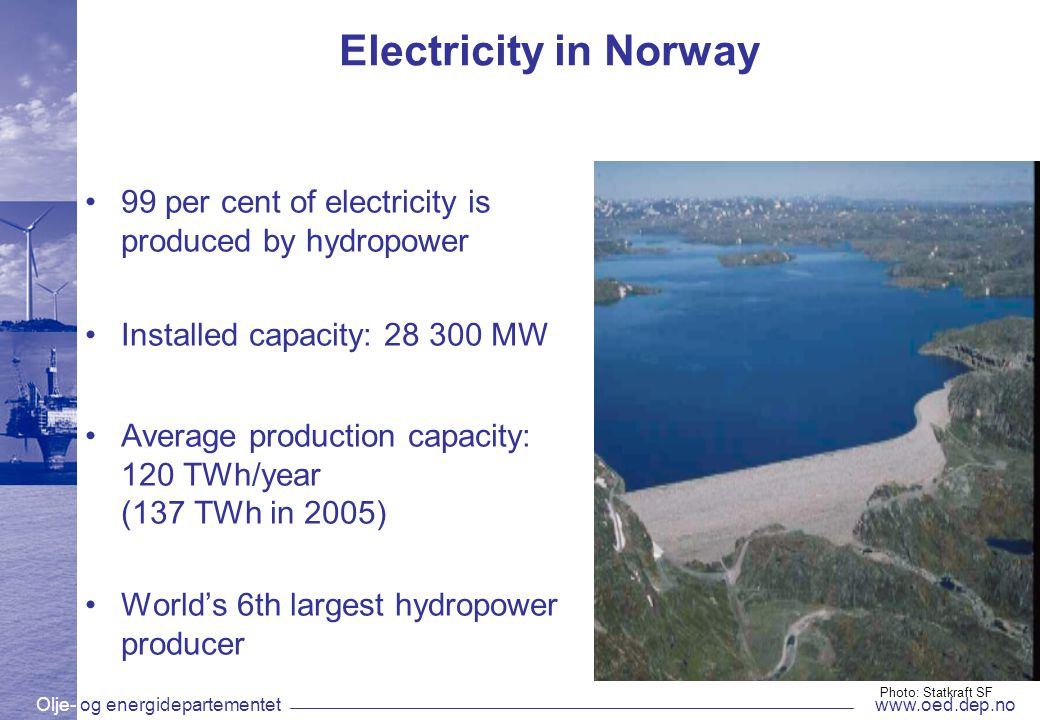 Olje- og energidepartementetwww.oed.dep.no Electricity in Norway 99 per cent of electricity is produced by hydropower Installed capacity: 28 300 MW Average production capacity: 120 TWh/year (137 TWh in 2005) World's 6th largest hydropower producer Photo: Statkraft SF