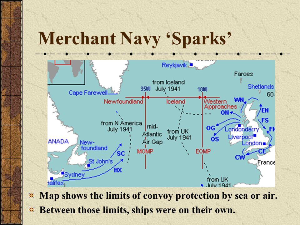 Merchant Navy 'Sparks' Map shows the limits of convoy protection by sea or air.