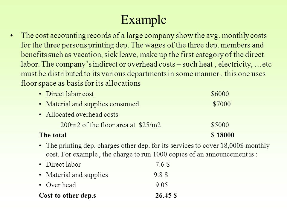 Example The cost accounting records of a large company show the avg.