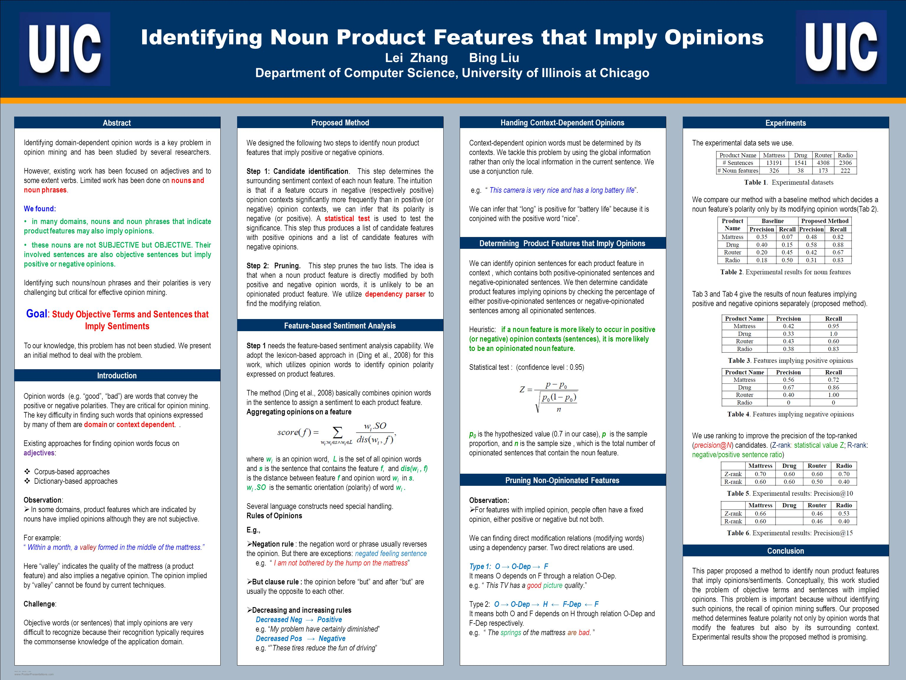 TEMPLATE DESIGN © 2008 www.PosterPresentations.com Identifying Noun Product Features that Imply Opinions Lei Zhang Bing Liu Department of Computer Science, University of Illinois at Chicago Abstract Identifying domain-dependent opinion words is a key problem in opinion mining and has been studied by several researchers.