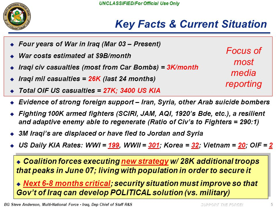 BG Steve Anderson, Multi-National Force - Iraq, Dep Chief of Staff R&S UNCLASSIFIED/For Official Use Only 5 Key Facts & Current Situation  Four years
