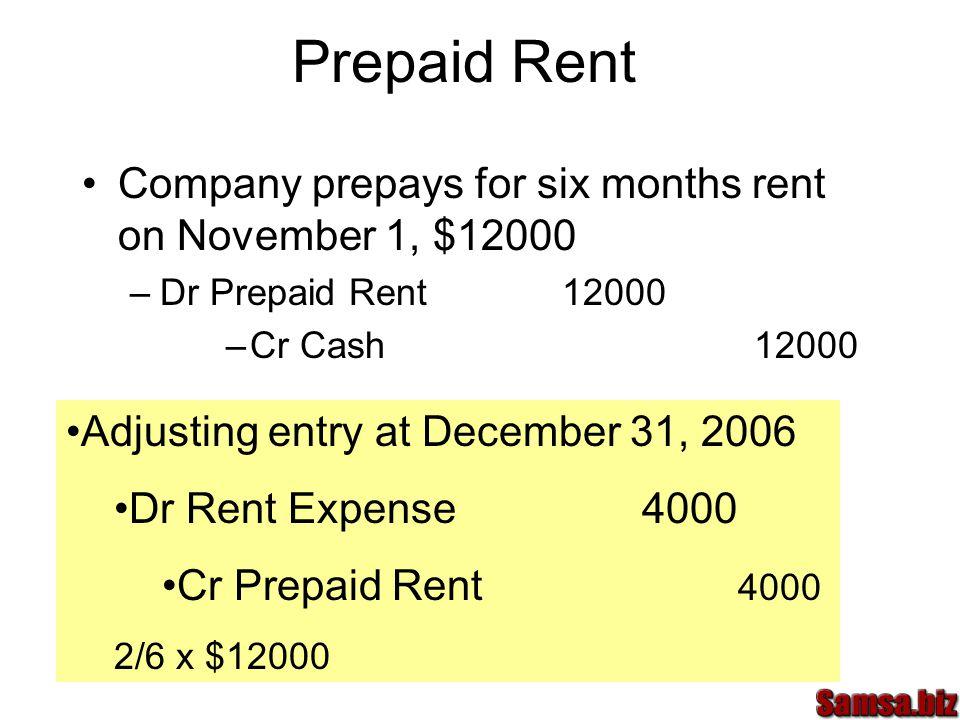 Prepaid Rent Company prepays for six months rent on November 1, $12000 –Dr Prepaid Rent 12000 –Cr Cash12000 Adjusting entry at December 31, 2006 Dr Rent Expense4000 Cr Prepaid Rent 4000 2/6 x $12000
