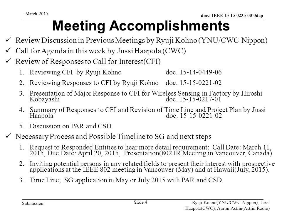 doc.: IEEE 15-15-0235-00-0dep Submission March 2015 Ryuji Kohno(YNU/CWC-Nippon), Jussi Haapola(CWC), Aurtur Astrin(Astrin Radio) Expecting Time Line Slide 5