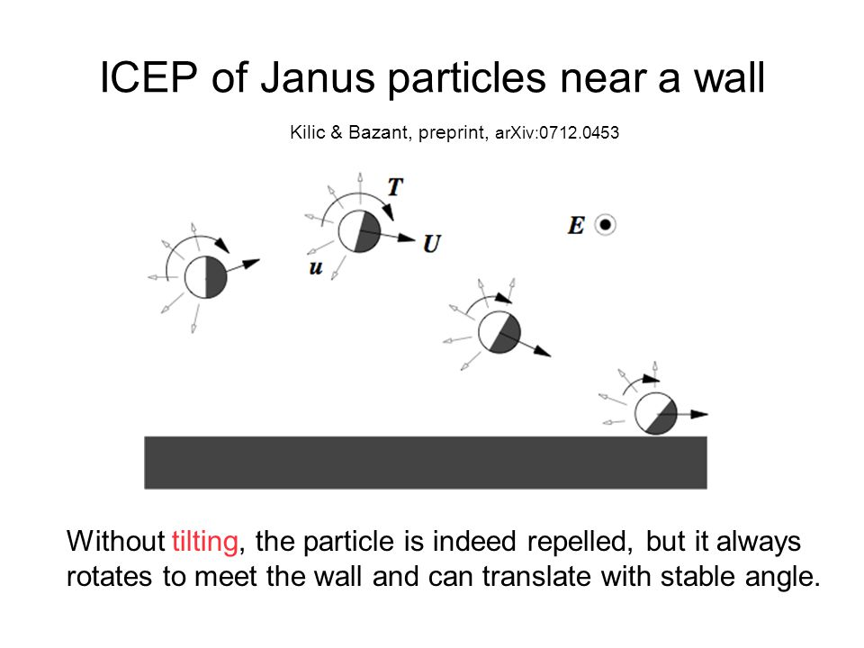ICEP of Janus particles near a wall Kilic & Bazant, preprint, arXiv:0712.0453 Without tilting, the particle is indeed repelled, but it always rotates to meet the wall and can translate with stable angle.