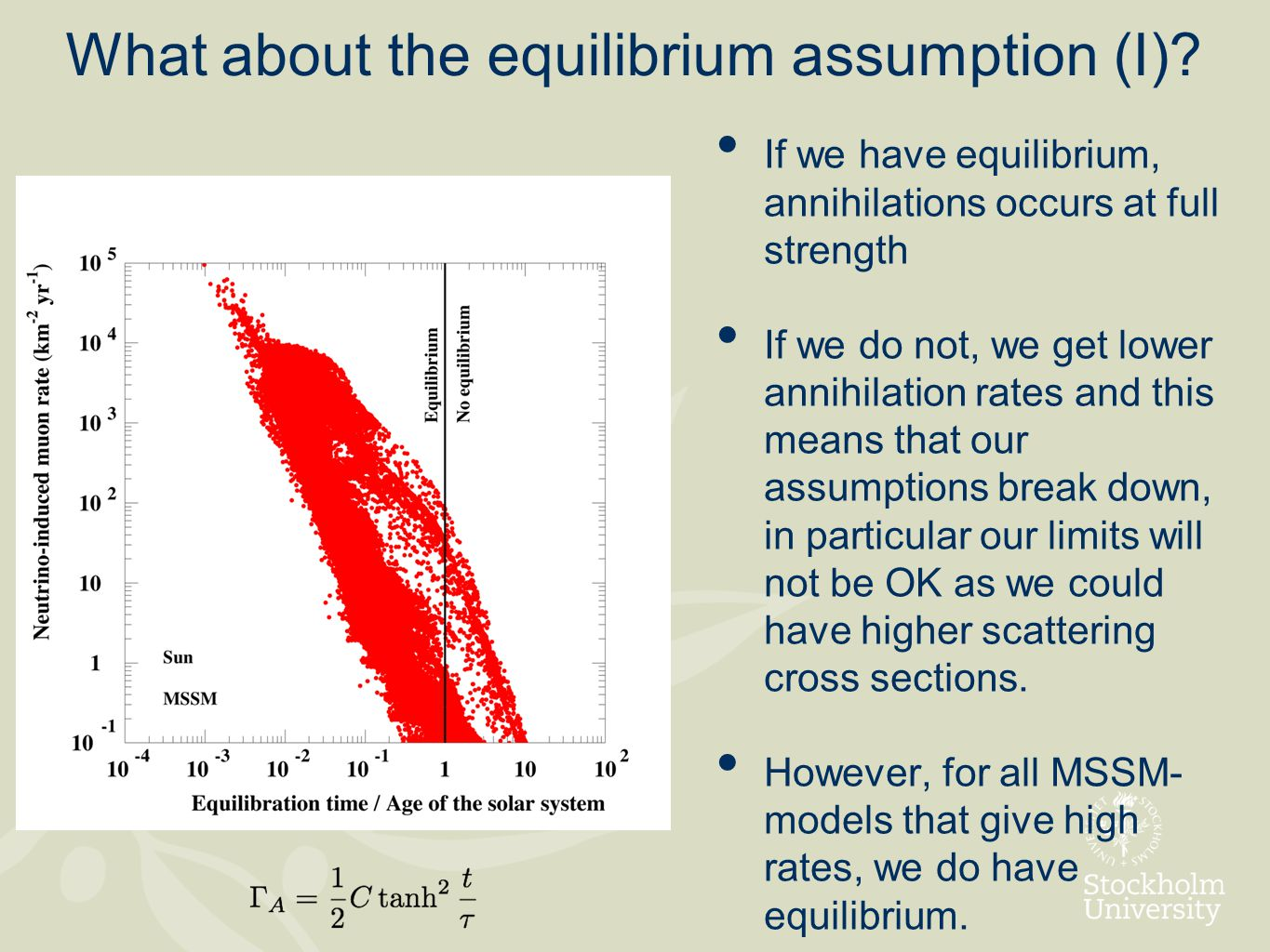 What about the equilibrium assumption (I).