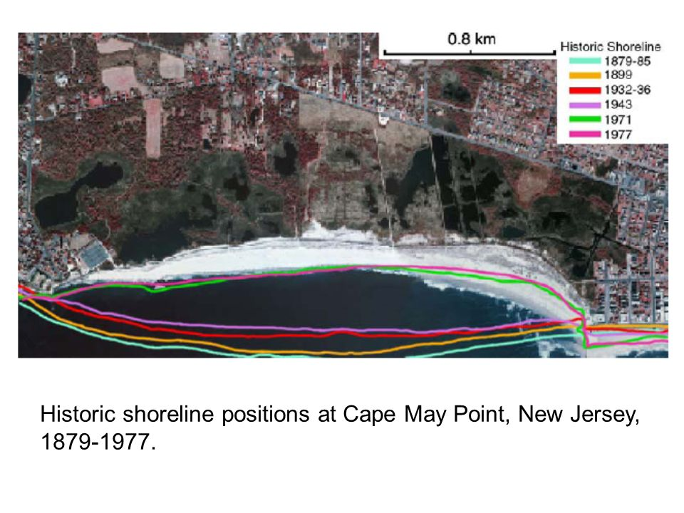 Historic shoreline positions at Cape May Point, New Jersey, 1879-1977.