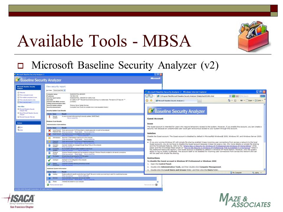 Available Tools - MBSA  Microsoft Baseline Security Analyzer (v2)
